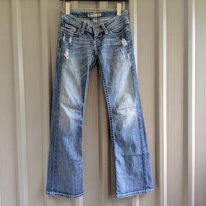 BKE womens jeans 23x31bold stitch low rise
